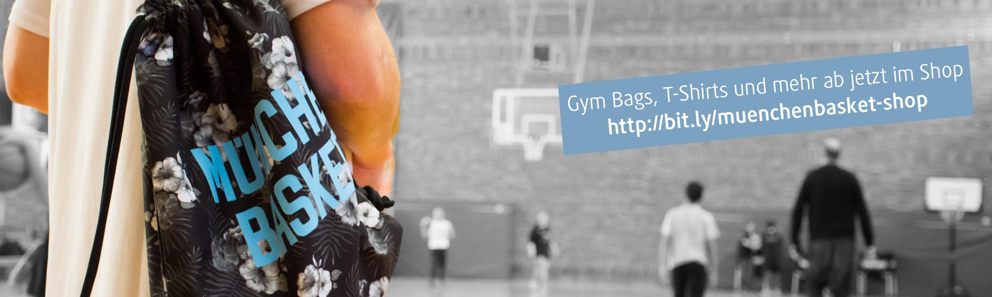 Hole dir jetzt T-Shirts, Gym Bags, Sweatpants mit München Basket Logo